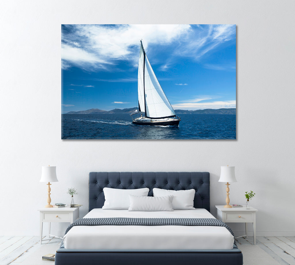 Sailing Ship with White Sails in Sea
