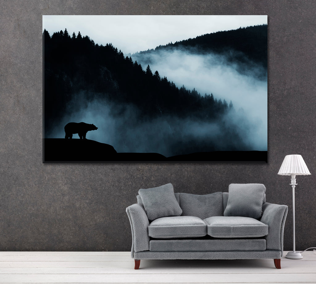 Misty Mountain Landscape with Forest and Bear Silhouette