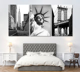 Set of 3 Empire State Building ‎& Statue of Liberty ‎& Manhattan Bridge New York