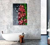 Red Orchid with Bamboo