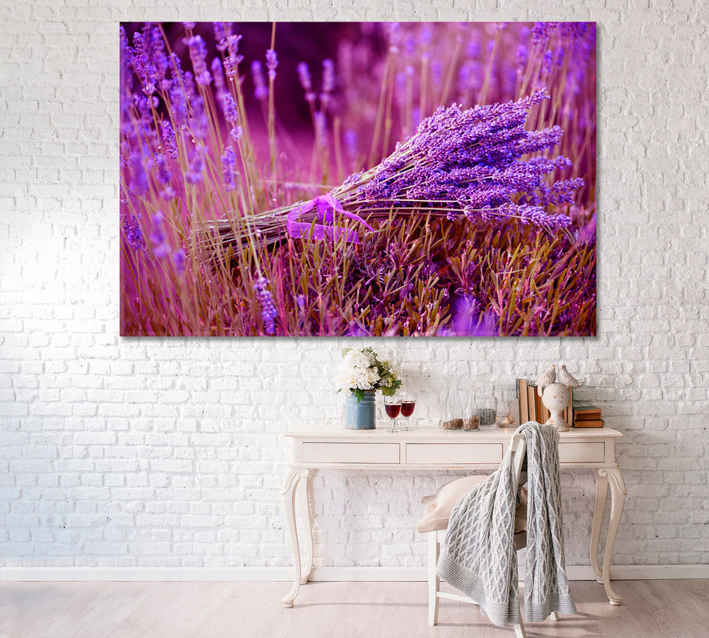 Bunch of Lavender Flowers on Lavender Field