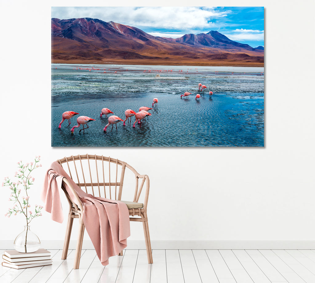 Pink Flamingos in Lake Hedionda and Andes Mountains Bolivia