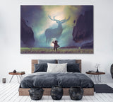 Man and Giant Deer in Mysterious Valley