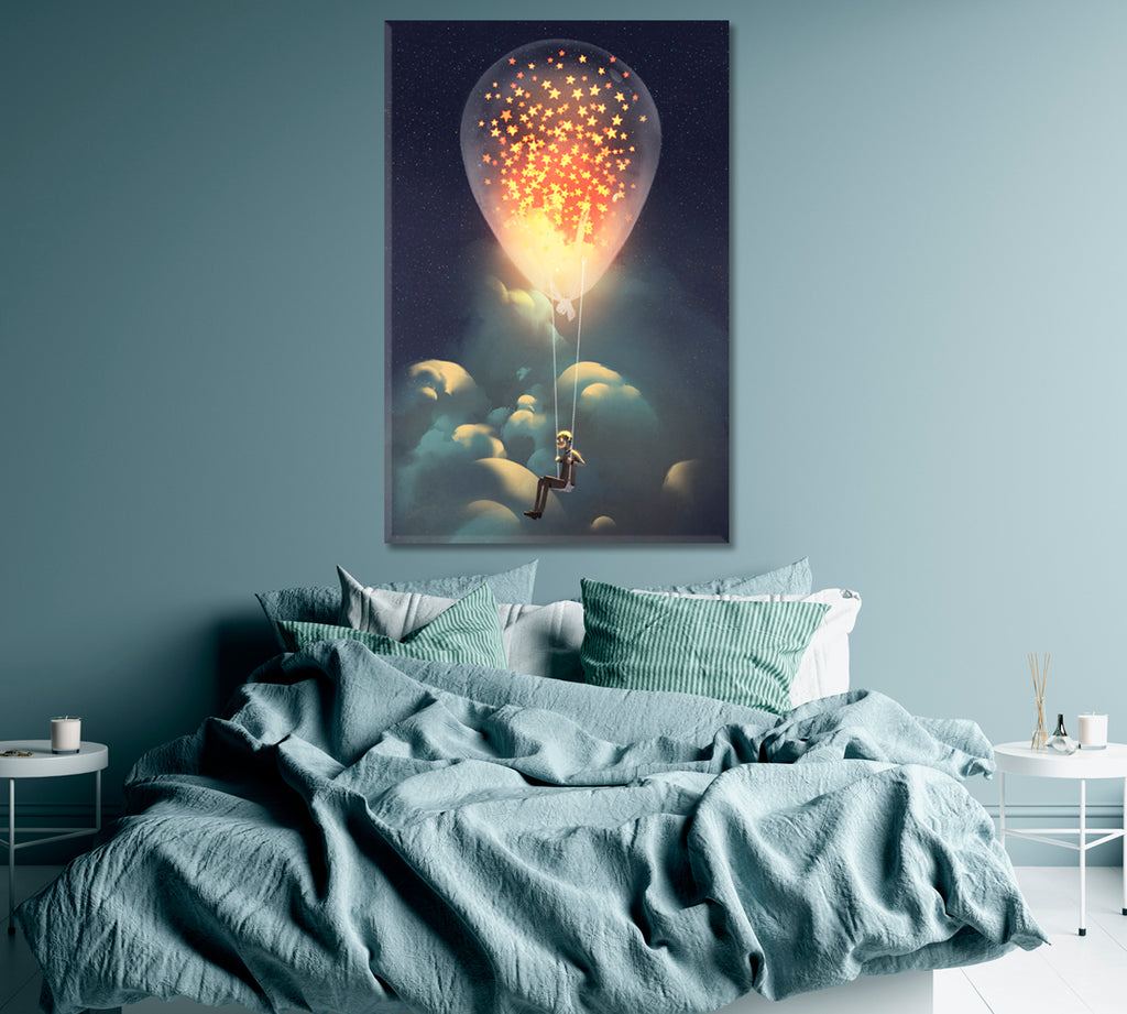 Man Flies on Balloon with Stars Inside