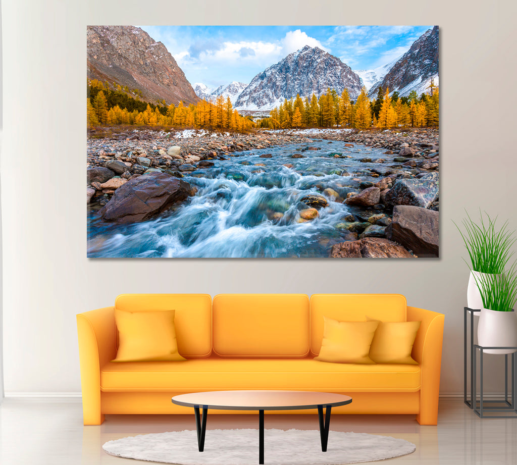 Autumn Landscape with Mountain River