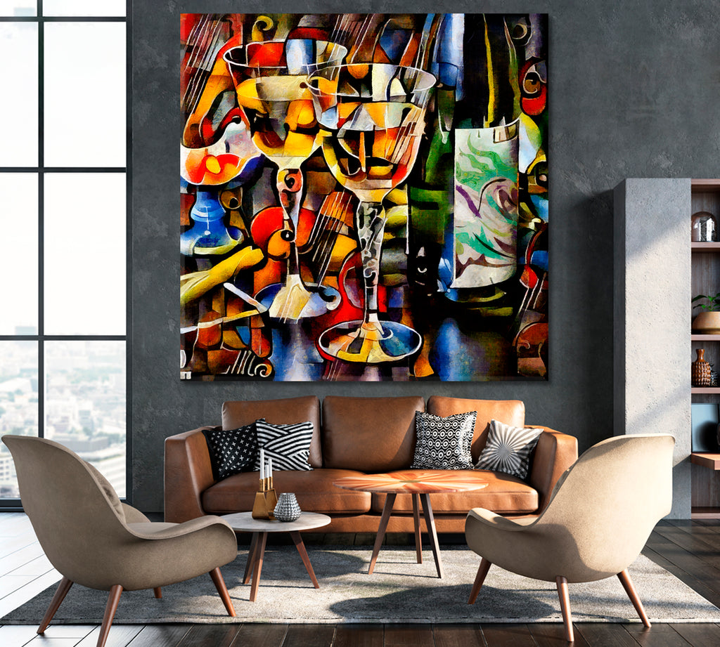 Cubism Style Wine Glasses