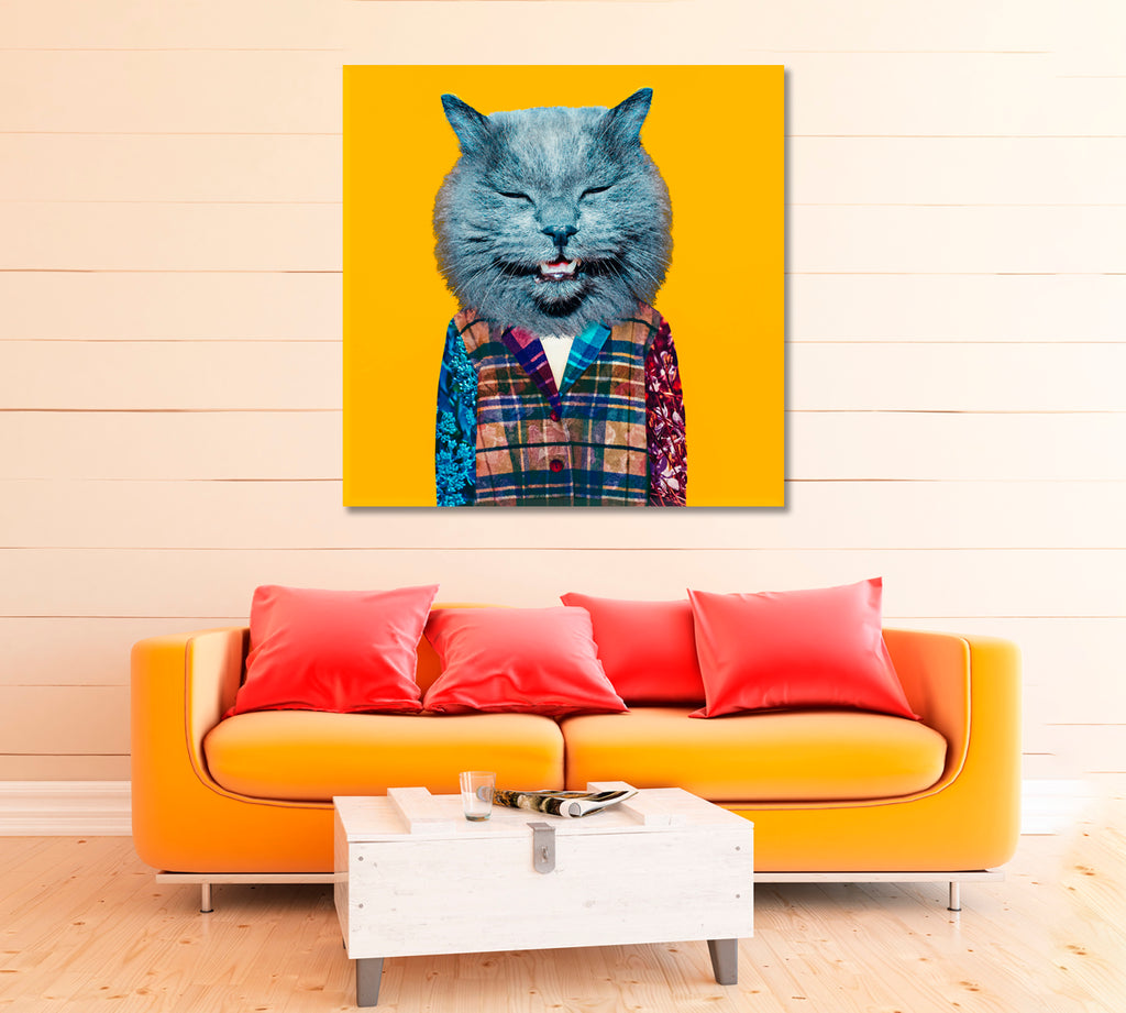 Modern Funny Art Cat in Suit