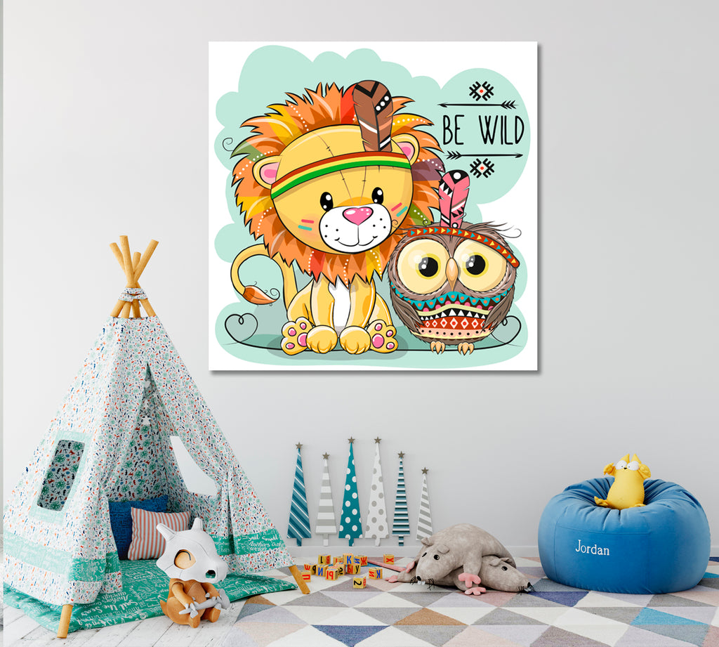 Cute Lion and Owl