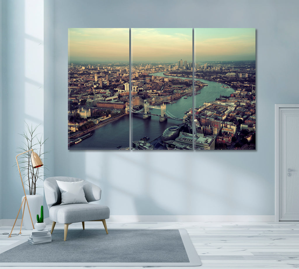 London Skyline with Thames River