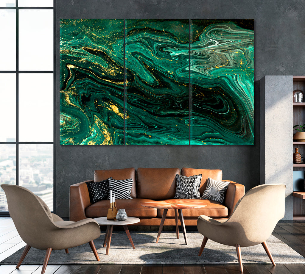 Abstract Green Marble with Gold Powder
