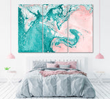 Abstract Turquoise and Pink Marble Painting