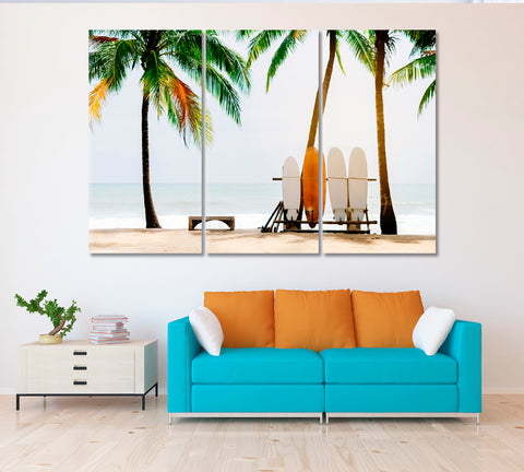 Beach with Palm Trees and Surfboards