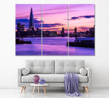 London Cityscape during Purple Sunset