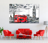 London with Red Bus and Big Ben