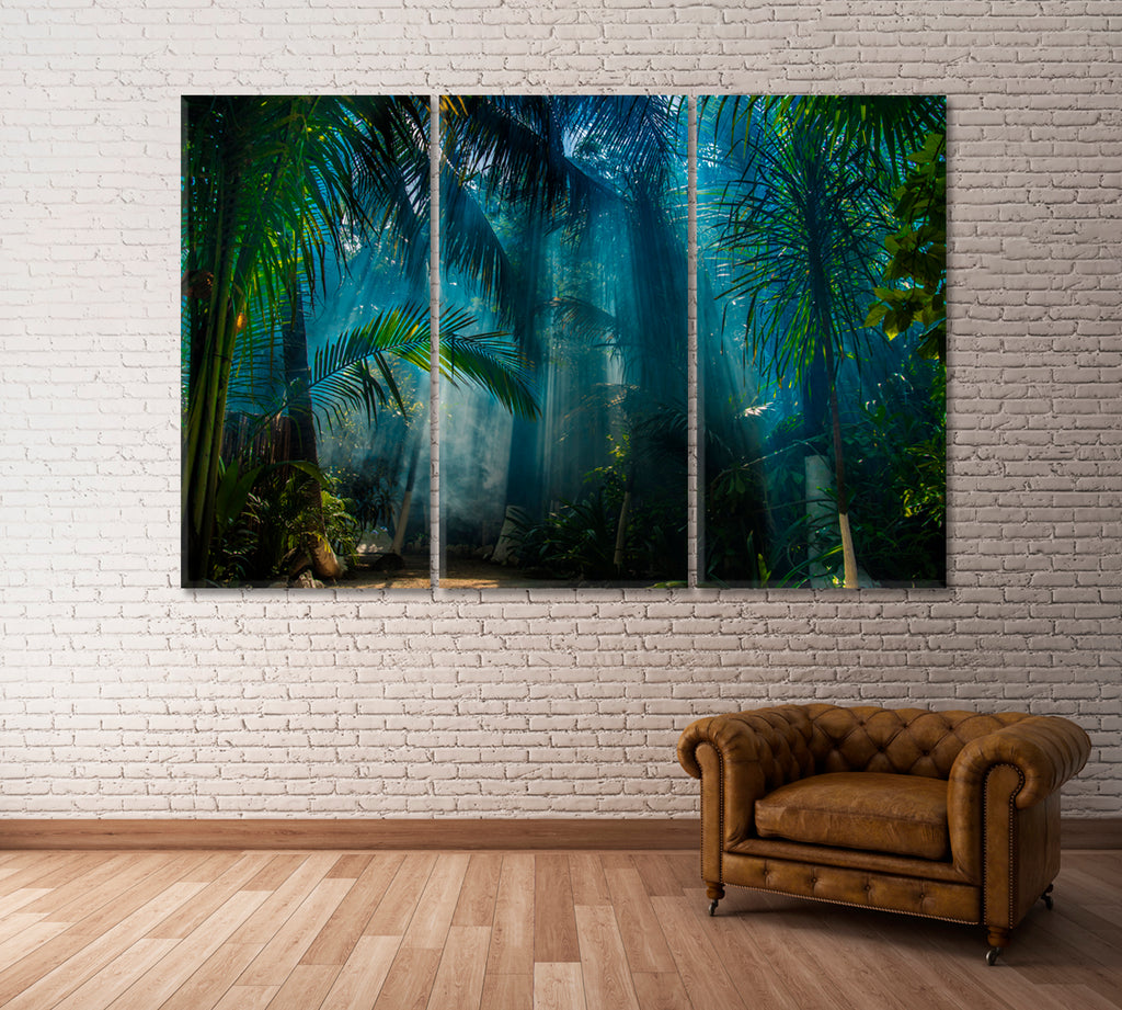 Palm Trees in Jungle with Sun Rays