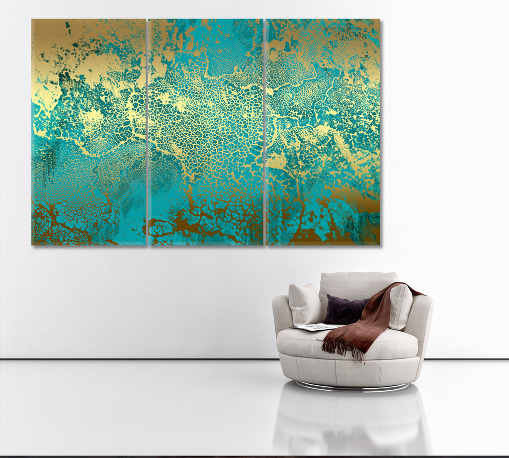 Golden Green Abstract Painting