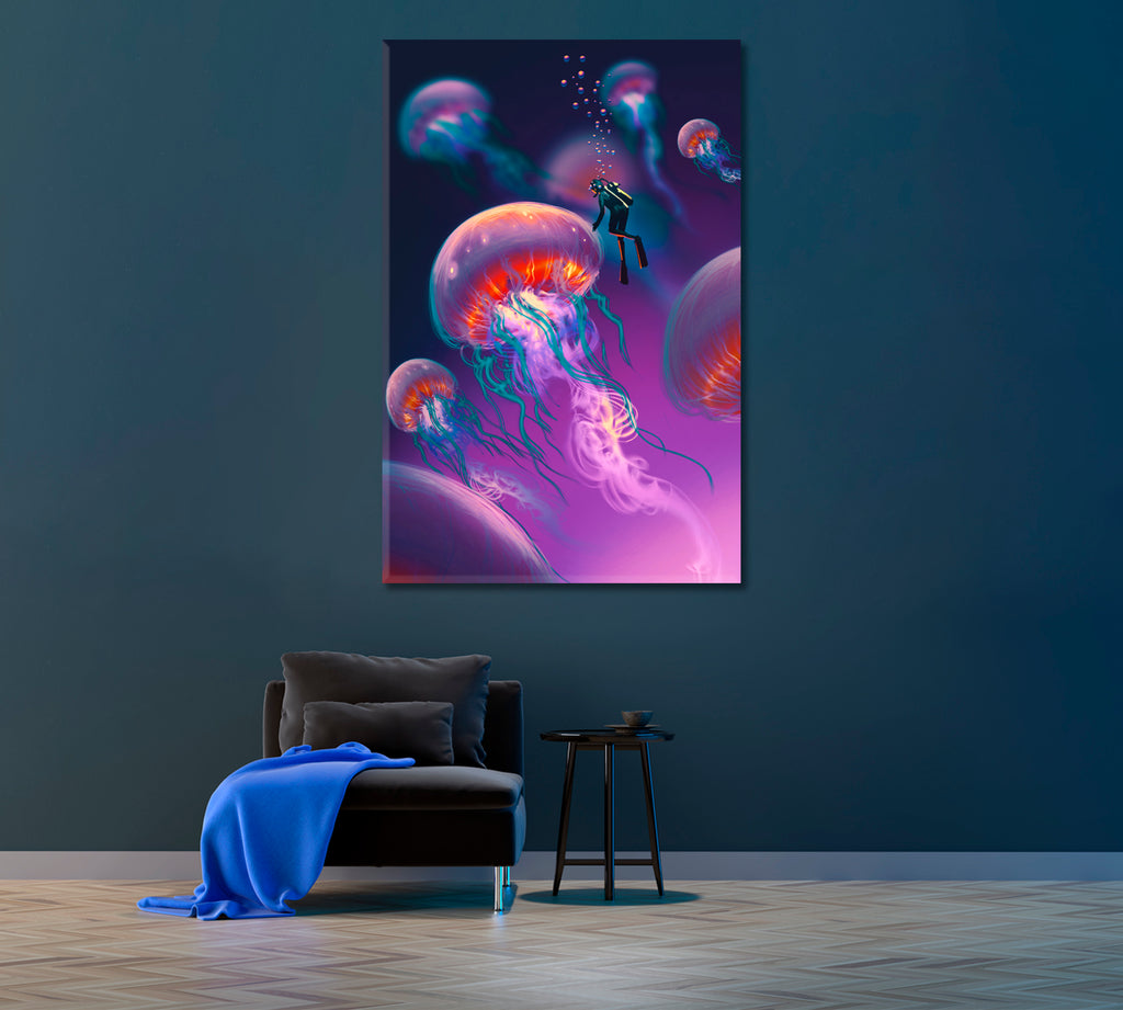 Fantasy Jellyfish and Diver Underwater