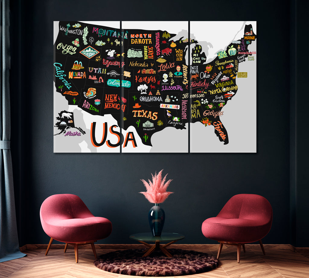 Map of USA with States and Attractions of America
