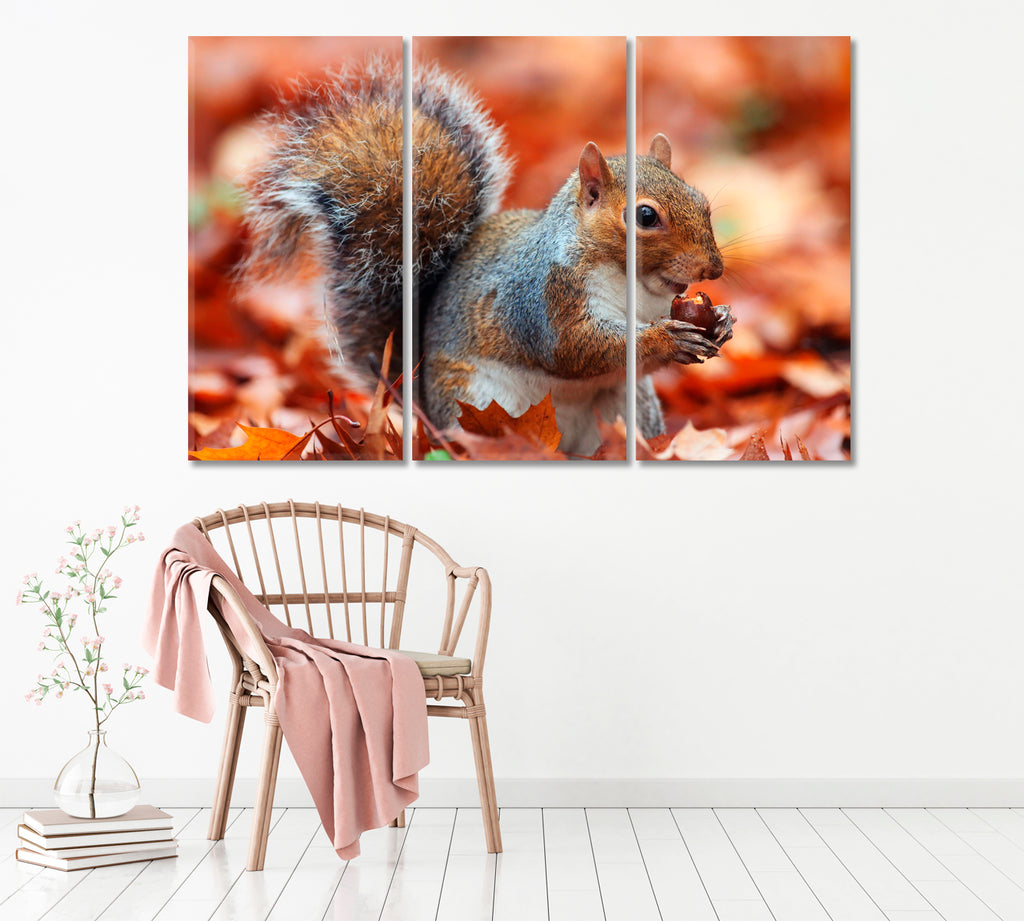 Squirrel with Acorn in Autumn Leaves