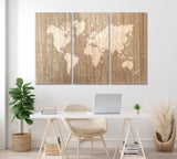 Abstract Wooden World Map
