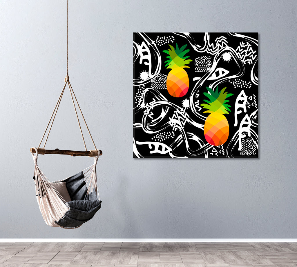 Tribal Art with Abstract Elements and Colorful Pineapples