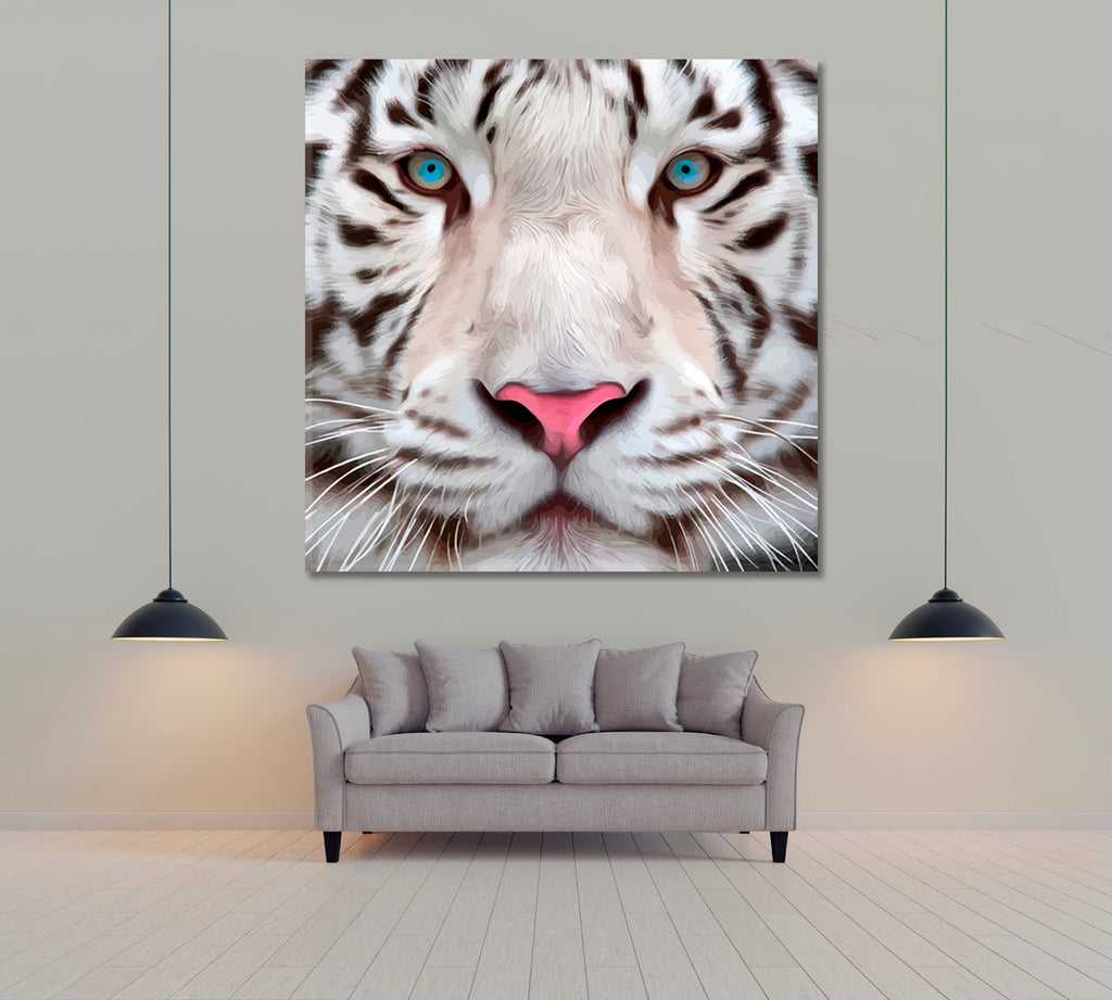 Oil Portrait of White Bengal Tiger