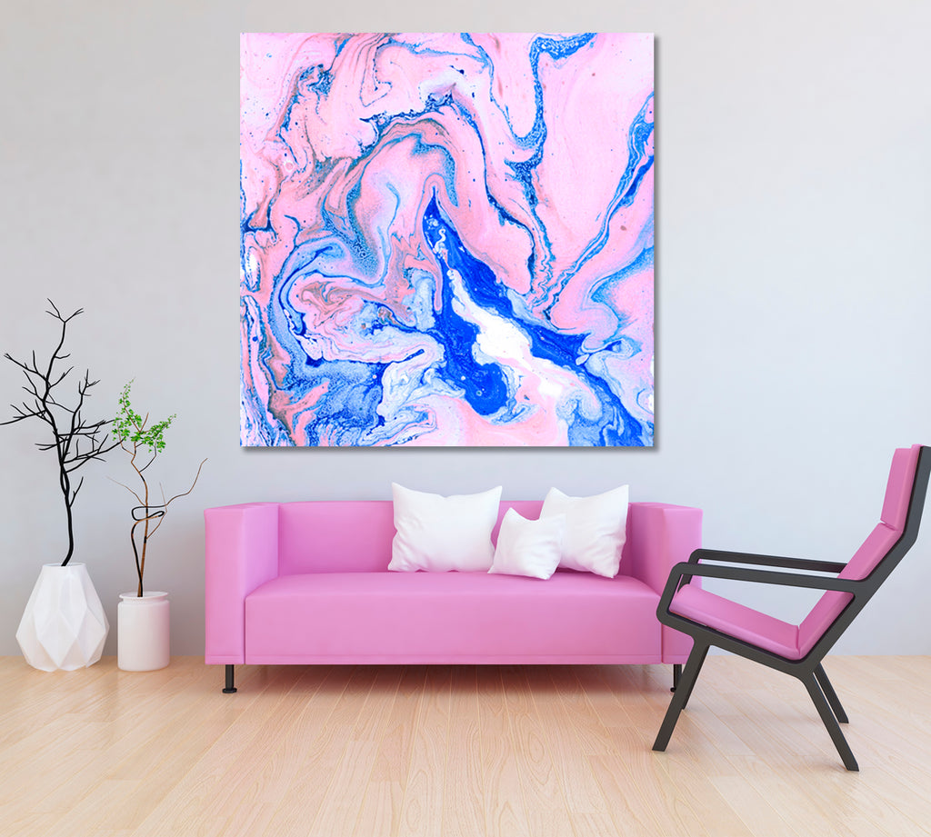Abstract Blue and Pink Acrylic Marble