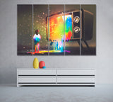 Bright Paint Flows From TV to Little Girl