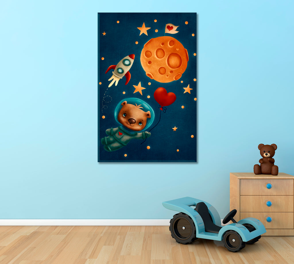 Cute Bear Astronaut in Space