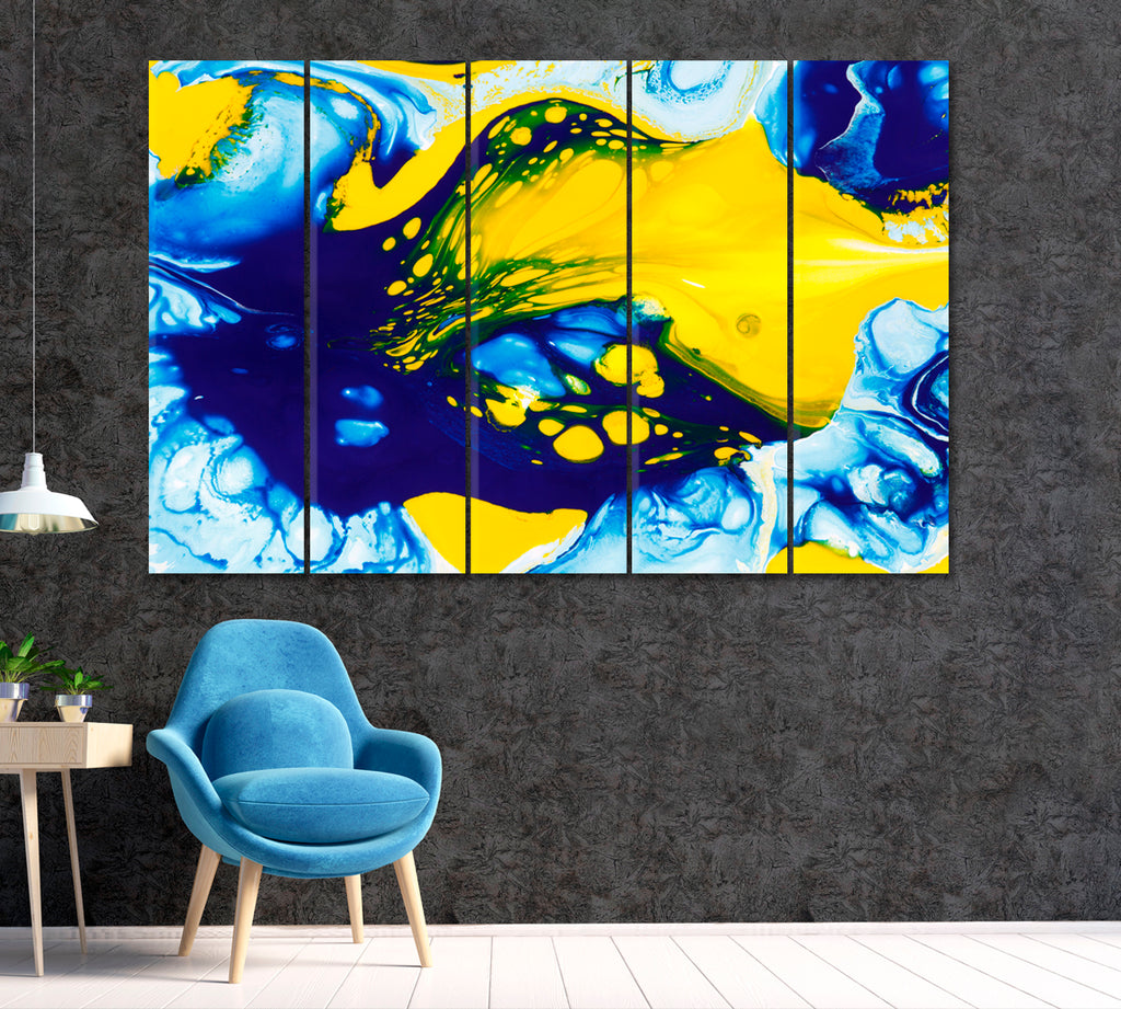 Abstract Mix Blue and Yellow Color Paints