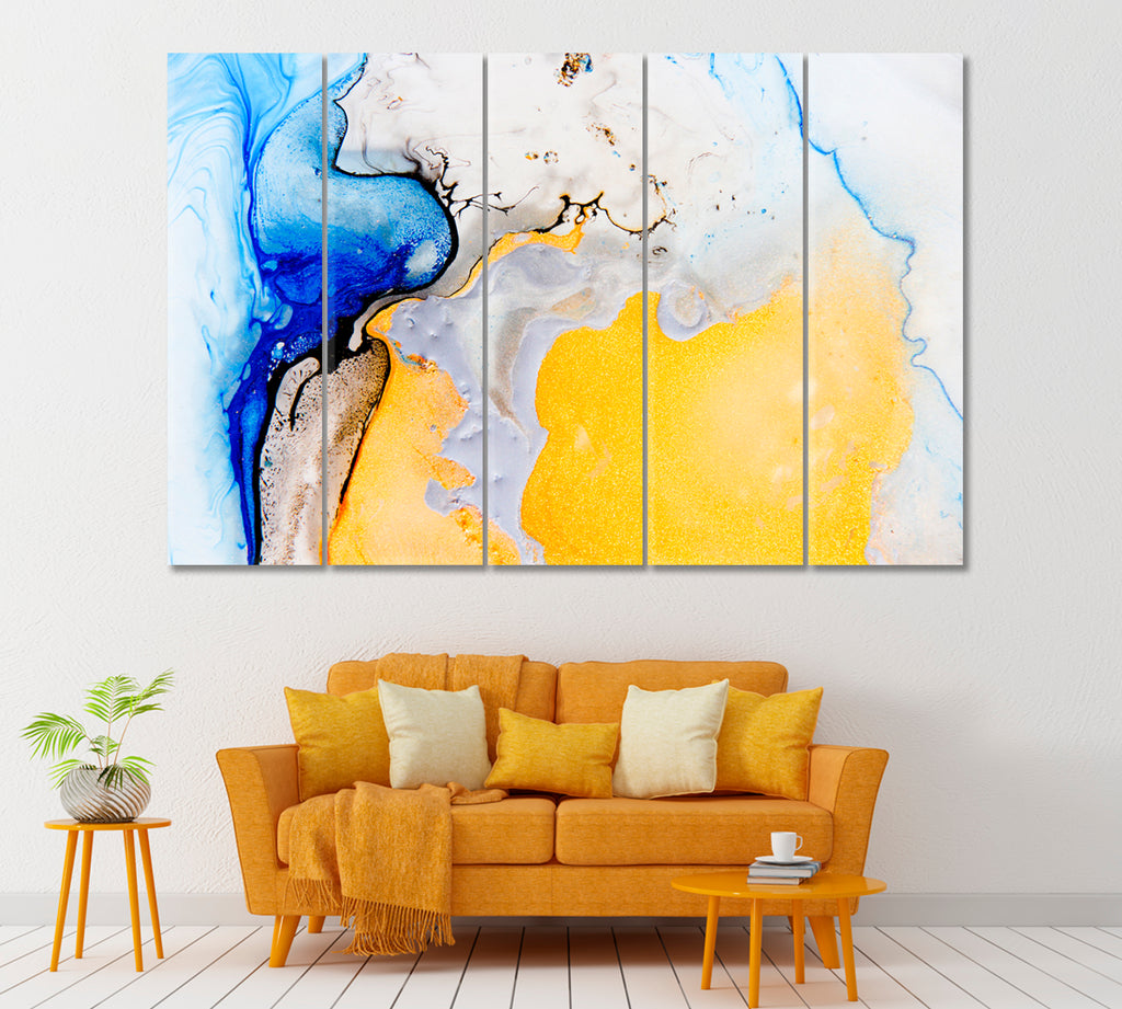 Abstract Yellow and Blue Mixed Acrylic Paints