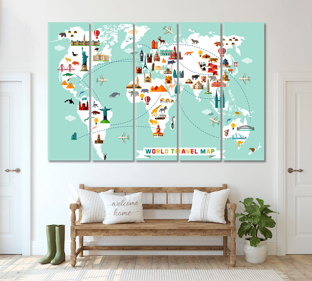 World Map with Animals and Landmarks