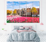 Dutch House with Spring Tulips Flowers