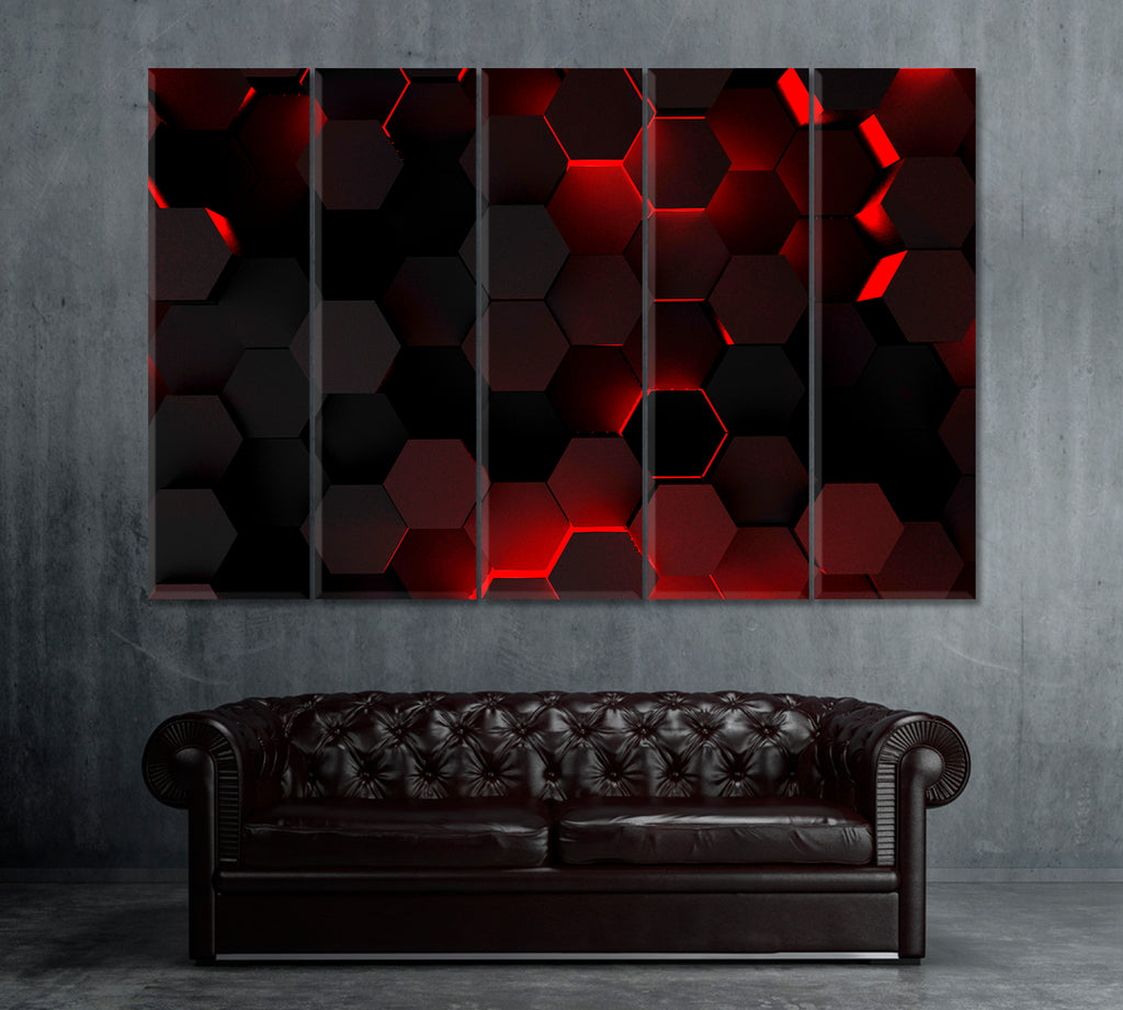 Abstract Hexagons with Red Backlight