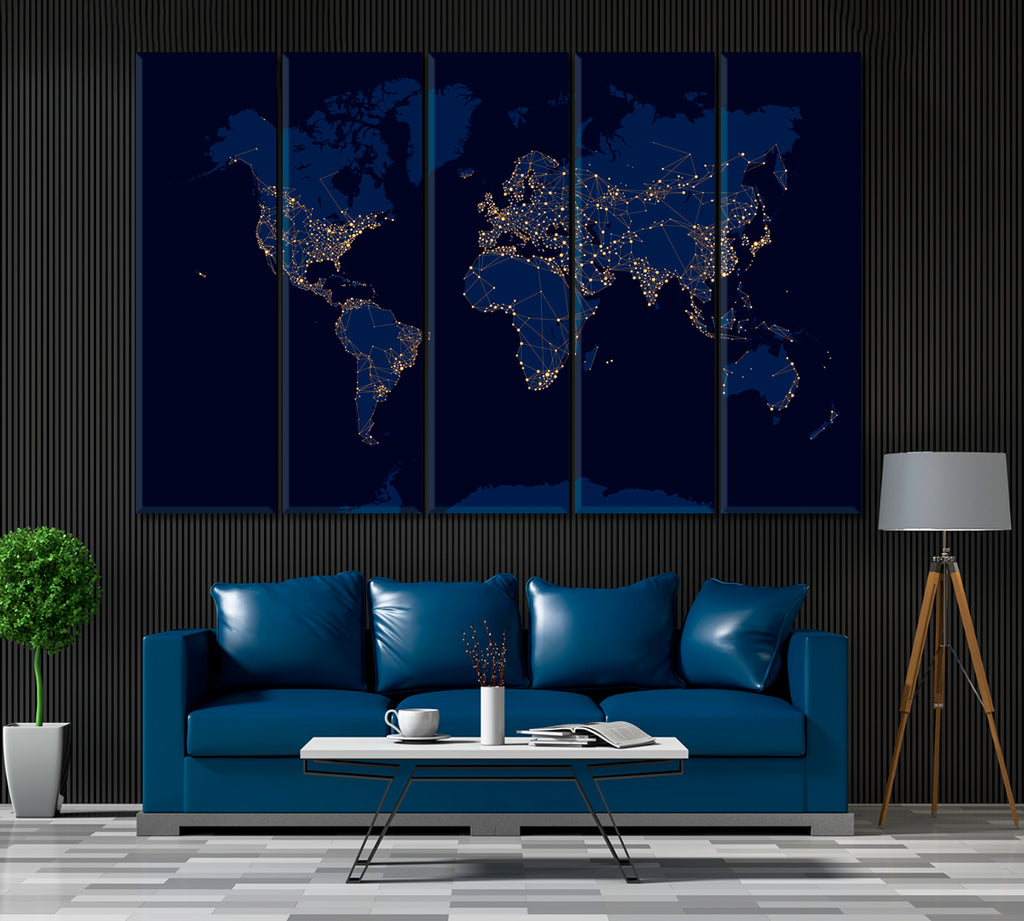 Abstract Night World Map