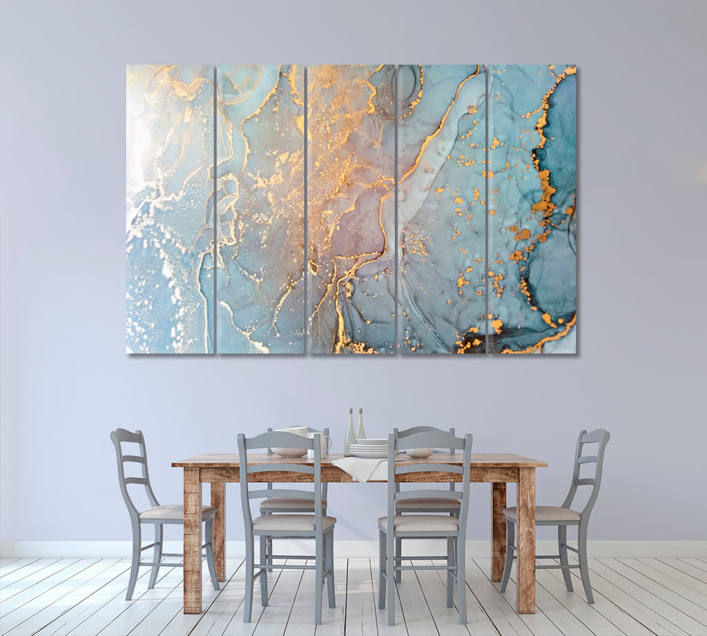 Abstract Blue Liquid Marble with Gold Veins
