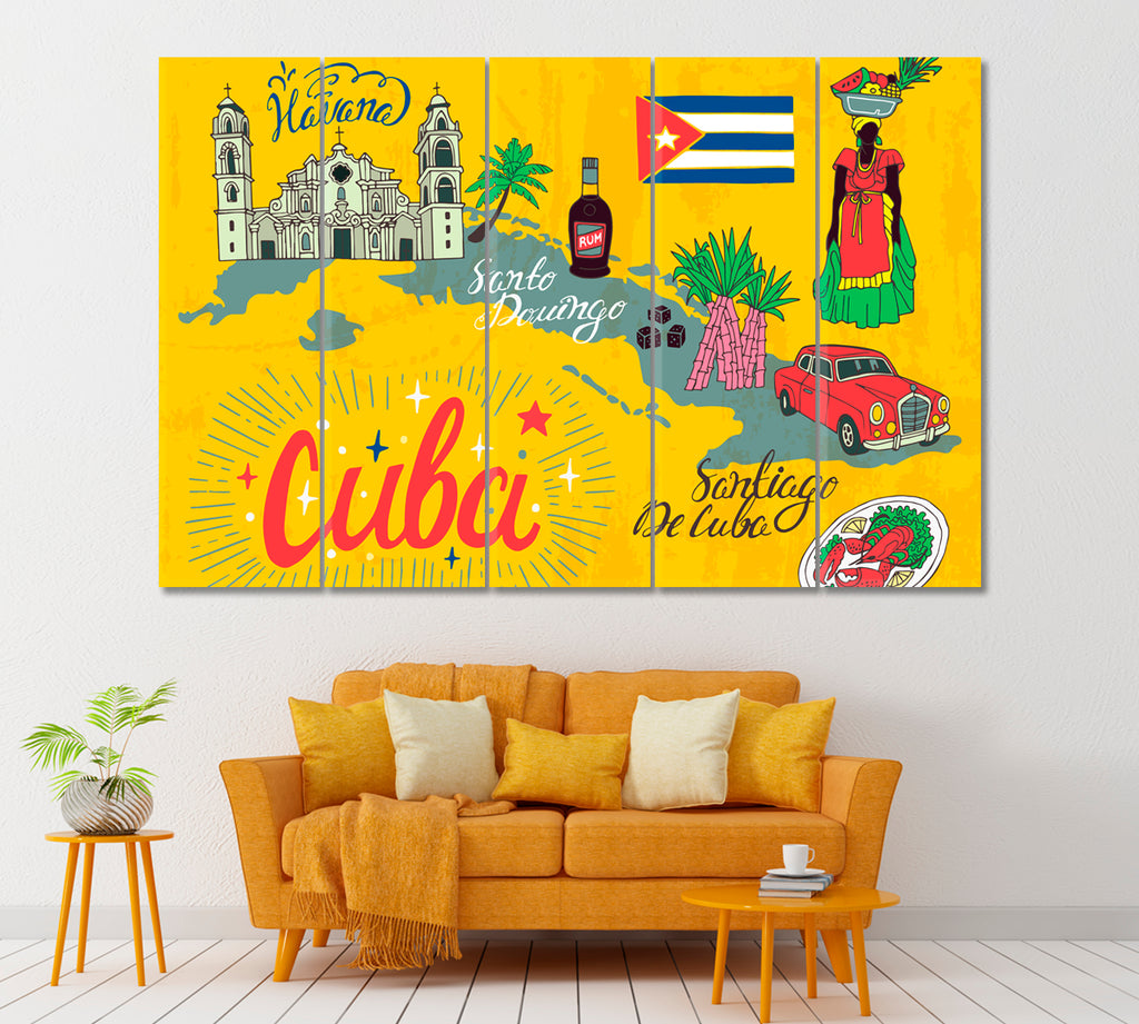 Cartoon Map of Cuba with National Color and Attractions