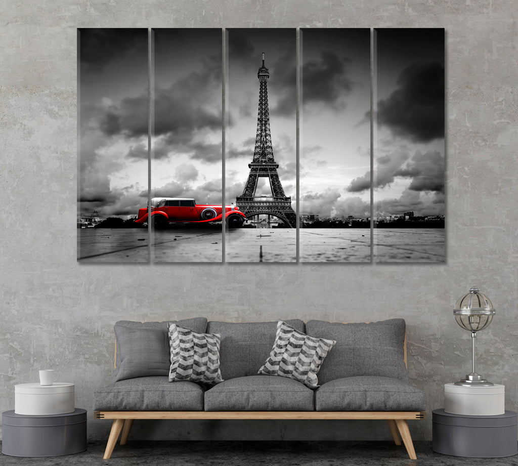 Eiffel Tower and Red Retro Car