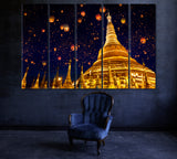Shwedagon Pagoda with Lanterns in Sky Yangon Myanmar