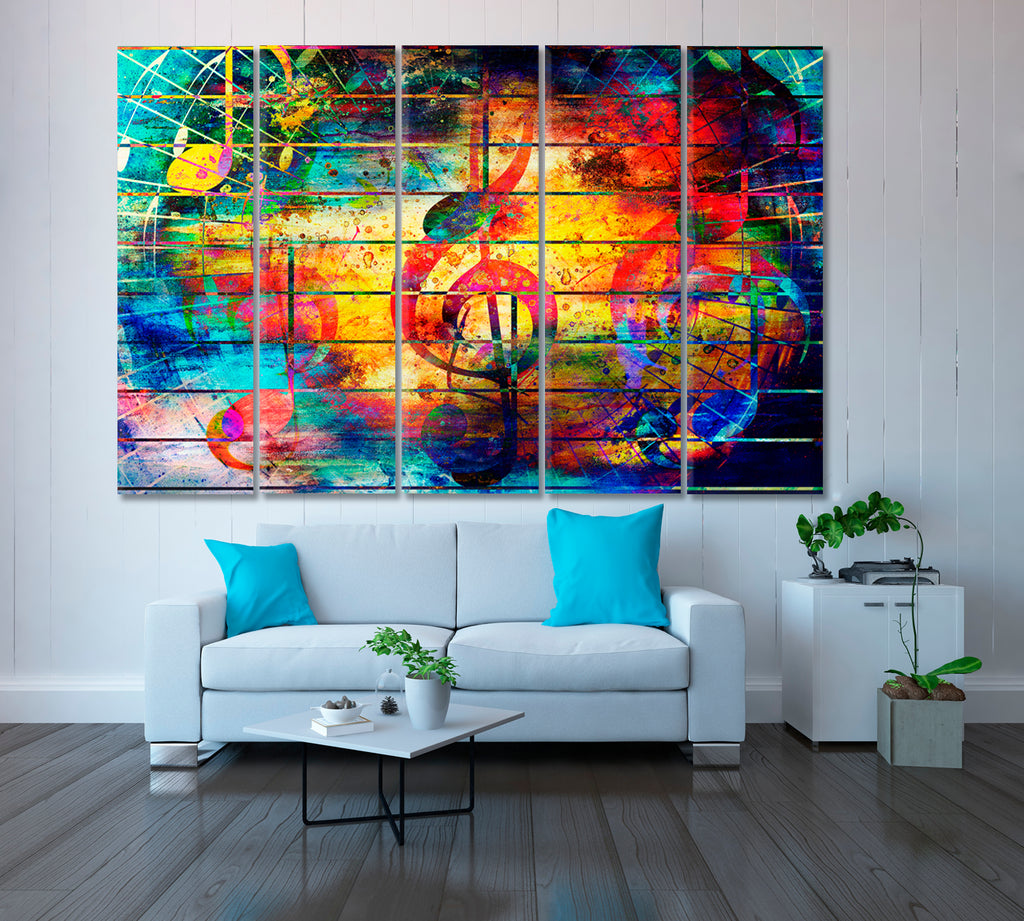 Abstract Music Notes and Violin Clef
