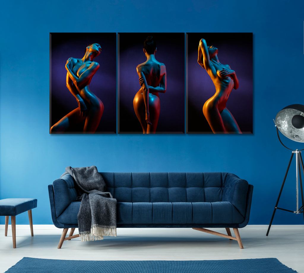 Set of 3 Silhouette of Nude Woman