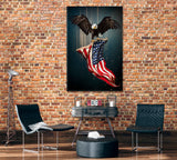 American Symbol Bald Eagle with Flag