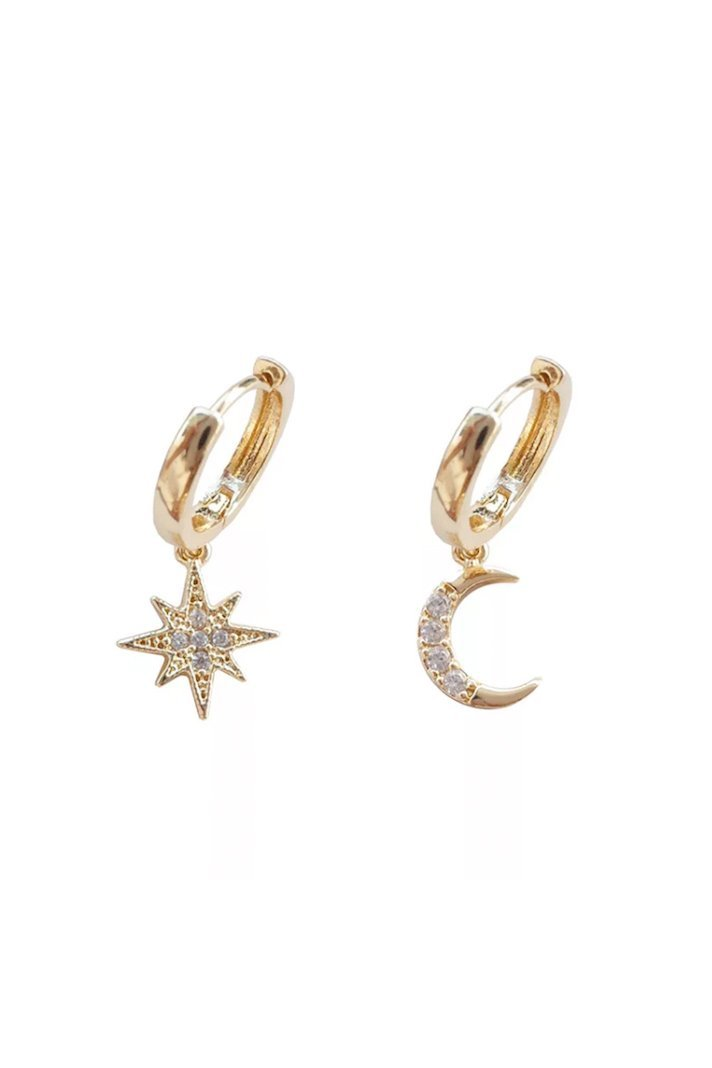 To the Moon & Stars Dainty Hoop Earrings - Frank and Doll