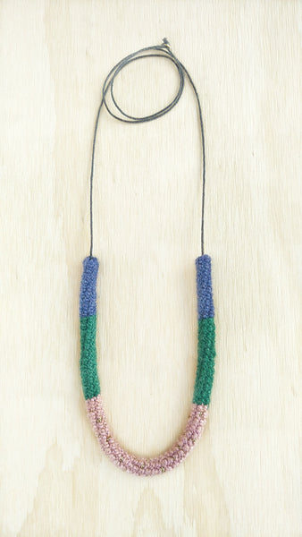 Sylvia #1 Wool color block necklace