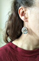 Lula Earrings #2 Crocheted wool round drop earrings
