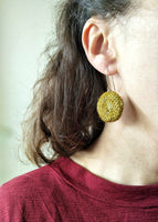 Lula Earrings #1 Crocheted wool round drop earrings