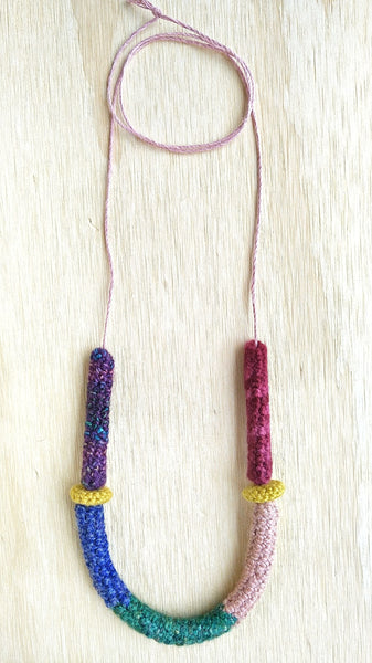 Winnie #2 Wool color block necklace
