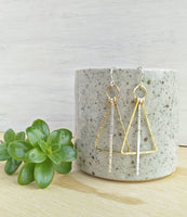 Estella Earrings. Hand formed brass and sterling silver drop earrings