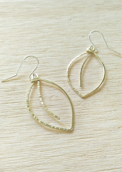 Falling Leaves Earrings.  Hand formed drop earrings in brass.