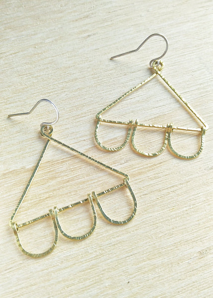 Nora Earrings.  Hand formed brass drop earrings